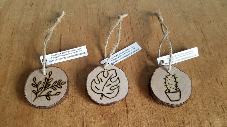 Plant Love Cactus Wood Burned Wooden Ornaments Set of 3 on image 0
