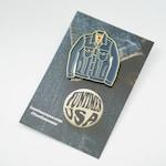 Mini Denim Jacket Soft Enamel Lapel Pin v3.0 - Blue/Gold Trim Hat pin, cute pin, retro hipster Tiny Levi's jean jacket