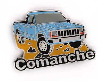 Jeep Comanche Pickup Truck Soft Enamel Lapel Pin - Light Blue/Chrome Hat Pin Retro Flair Cherokee Wrangler 4x4 Offroad