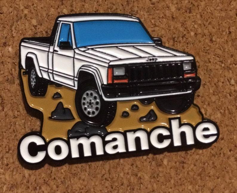 Jeep Comanche Pickup Truck Soft Enamel Lapel Pin  White Hat image 0