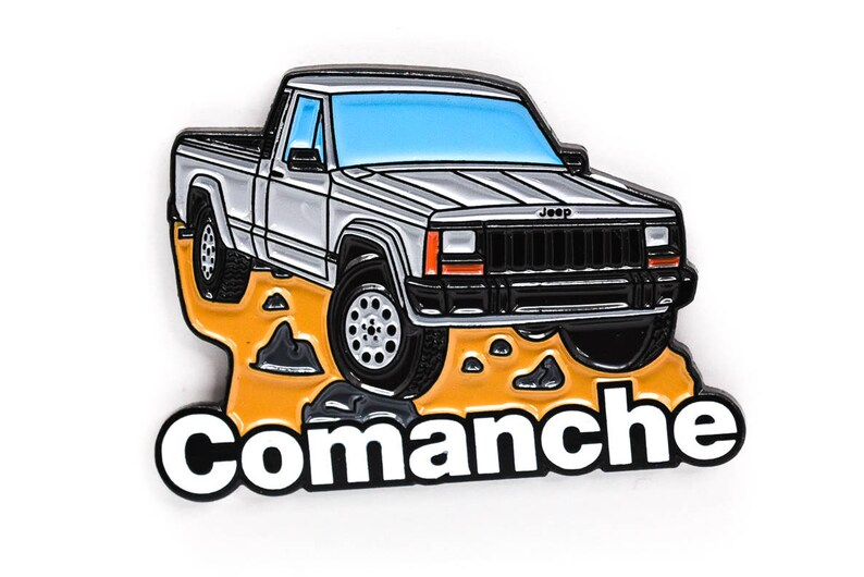 Jeep Comanche Pickup Truck Soft Enamel Lapel Pin  Grey Hat image 0