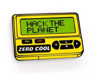 HACK THE PLANET Enamel Pin v2.0! Glow in the Dark Hackers Pager Hard Enamel 90s Cyberpunk Lapel Pin Hat Pin Flair