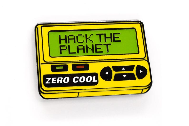 HACK THE PLANET Enamel Pin v2.0 Glow in the Dark Hackers image 0