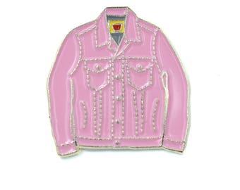 PINK Mini Denim Jacket Soft Enamel Pin - Pink/Silver Trim cute pin, lapel pin, retro hipster Levi's jean jacket