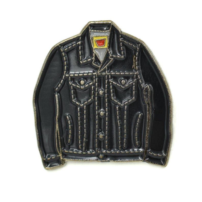 Mini Denim Jacket Soft Enamel Pin  Black/Dark Grey Trim cute image 0