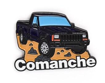 Jeep Comanche Pickup Truck Soft Enamel Lapel Pin - Dark Blue Hat Pin Retro Flair Cherokee Wrangler 4x4 Offroad