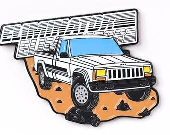 Jeep Comanche Pickup Truck Soft Enamel Lapel Pin - White Eliminator Hat Pin Retro Flair Cherokee Wrangler 4x4 Offroad