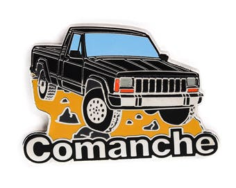 Jeep Comanche Pickup Truck Soft Enamel Lapel Pin - Black/Chrome Hat Pin Retro Flair Cherokee Wrangler 4x4 Offroad