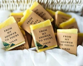 Wedding soap favors Lemon soap favors bridal shower favor baby shower soap favors guest soap mini soap thank you soap Green shower favors