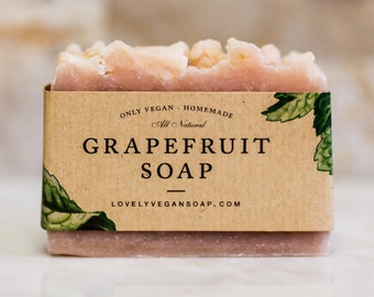 Grapefruit soap citrus soap pink soap gift for her gift for women vegan soap homemade soap organic soap dry skin soap moisturizing soap soap