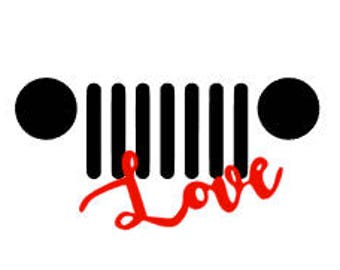 JEEP LOVE, Quality Vinyl Decal; JEEP Decal, Yeti Decal, Car Decal, Fast Shipping!