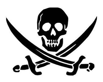 CALICO JACK - Jolly Roger Quality Vinyl Decal, Jack Rackham , Skull and Crossed Swords Only, Car Decal, Yeti Decal, FAST Shipping!