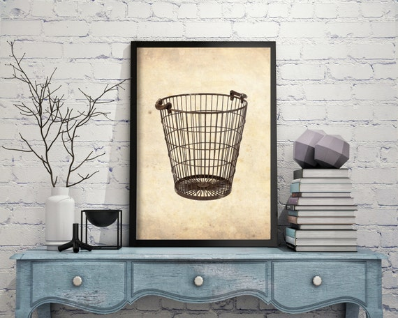 printable vintage wire basket kitchen wall decor printable | etsy
