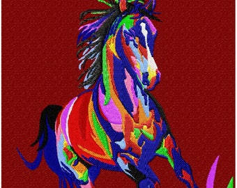 HORSE color machine embroidery pattern