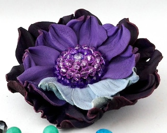 Purple Leather brooch/ Leather flower/ Leather anniversary/ 3rd anniversary gift