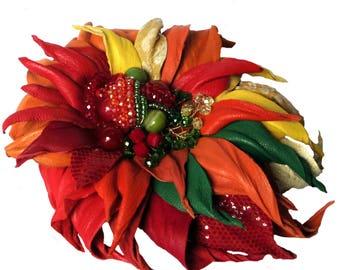 Orange  Flower brooch/ Leather flower / 3 rd anniversary