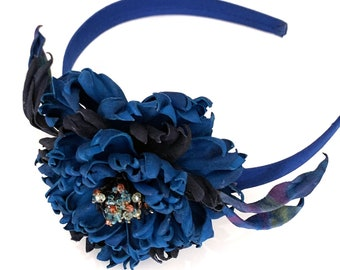 Navy flower crown/ Blue hair wreath/ Wildflower headpiece for blue wedding dress