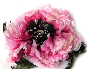 Silk peony  flowers jewelry women brooch  wedding bouquet  spring pink  flower dress