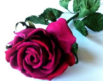 Long stem fuchsia rose / Fuchsia leather flowers/ 3rd anniverssary