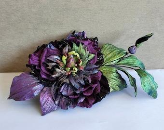 Purple leather flower brooch/ Purple  flower pin  dress/ Lilac leather wedding / 3d anniversary
