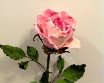 Single pink rose/ Realistic pink  rose / leather flower in vase/ Mother day gift