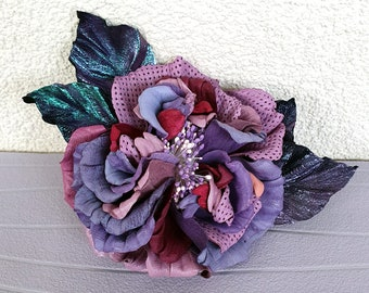 Purple leather brooch/ Leather Anniversary/ 3rd Anniversary/Leather pink rose