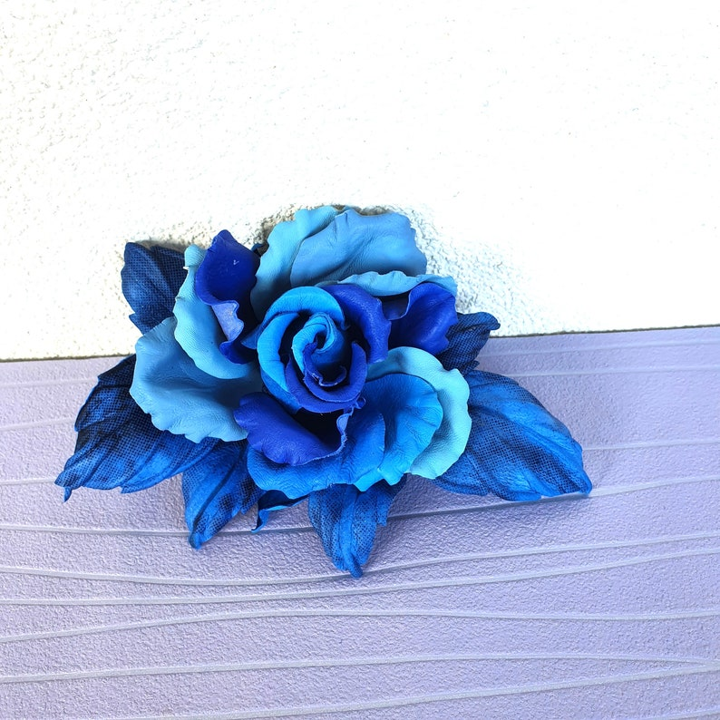 Blue Leather flower brooch Blue large rose Flower leather jewelry 3rd anniversary