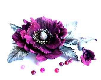 Poppy brooch/   Leather Burgundy flower/ Third anniversary gift for her