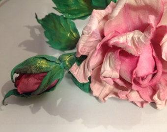 Single pink leather rose/Valentin'es day rose/ 3rd anniversary gift / flower arrangement