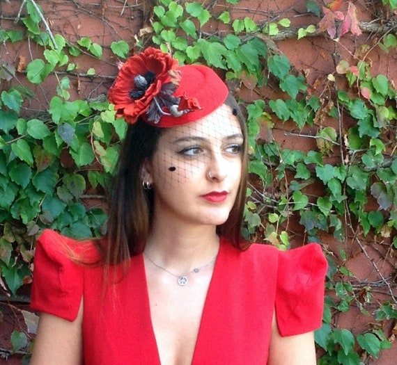 Red Kentucky derby hat  Red Poppy flower Race day hat