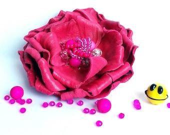 Fuchsia leather brooch / Flower fuchsia brooch / 3 rd anniversary gift  for women