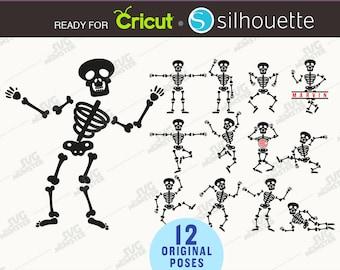 Skeleton svg Halloween SVG cut files - Dancing skeleton SVG Skeleton poses svg Skeleton Clipart Halloween Monogram for Cricut Silhouette 266