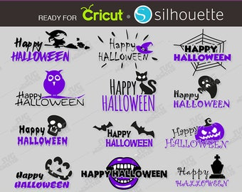 Happy SVG Halloween Sayings Halloween phrase svg Happy Halloween svg Collection Pack files compatible for Cricut Silhouette 287