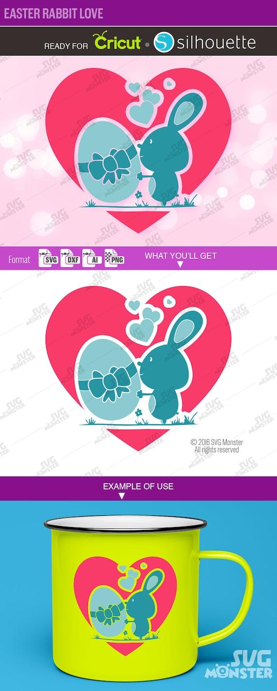 Easter Love Rabbit Svg Files Egg Svg Circle Border Split Etsy