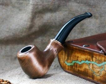 "Mini Smoking pipe ""Lightning""with Turquoise  -Tobacco smoking pipes -Exclusive Wood Pipe -Smoking bowl-Tobacco bowl-Christmas gift"