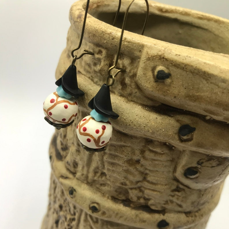 spring jewellery White clay beads Japanese tree design earrings with blue gift for her boho earrings black and bronze bead caps
