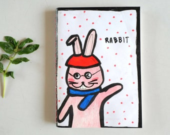 Always Friendly Rabbit handmade Notebook