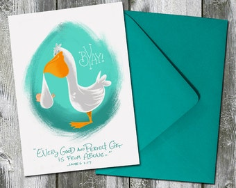 BYAY! Baby and Stork – Baby Shower / Welcome Baby Card with Scripture
