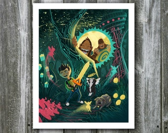 Garrison and the Bigfeet in the Techno Forest – 8x10 Art Print