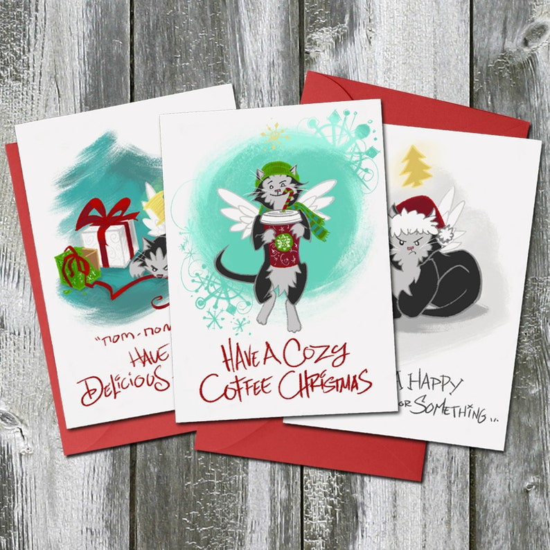 Trouble the Cat Christmas Card 3 Pack Bundle  Coffee image 0