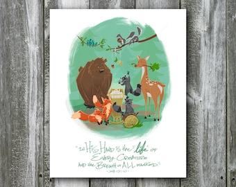 Woodland Creatures with Baby – Job 12:10 – 8x10 Art Print