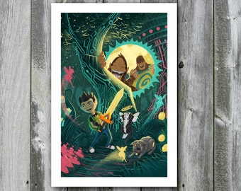 Garrison and the Bigfeet in the Techno Forest – 13x19 Art Print
