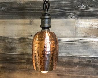 Pounded Copper Bar Pedant