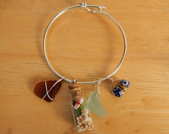Charm Bracelet with Sea Glass, Treasure Bottle and Ceramic Bead. Sea Glass Jewelry. Gift for Mom on Mother's Day