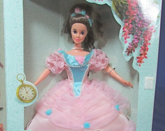 Barbie 1850 Southern Belle 1993 Great Eras Collection Pink Hoop Dress Blue Bow