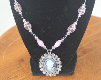 Silver with pink beads Cameo Necklace