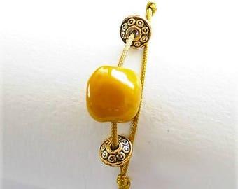Yellow ochre 17582 pearl bracelet