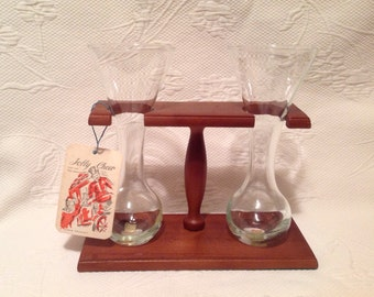 """Cellini Masterpieces Italian Vintage Set for Ale with wooden holder """"Jolly Cheers"""" - Beer Tasting // Made in Italy"""