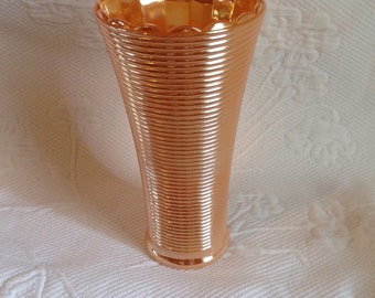 "Anchor Hocking ""Peach Luster"" Ribbed - lined pattern vase"
