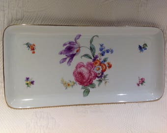 Vintage porcelain cake plate Bareuther Waldassen Bavaria - flowers and gilding - serving tray / / made in Germany